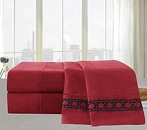 Elegant Comfort Cane 刺绣系列 4 件套床单和枕套套装 *红色 Queen 90RW-Cane-Sheets-Q-Burgundy