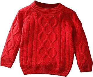 学步幼童男孩女孩粗线针织套头毛衣棉内衬保暖运动衫