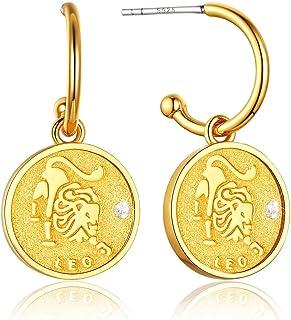 ChainsPro 轻质别致耳坠硬币 - 带 S925 银条,12 个星座标志耳饰-18K 镀金(发送礼品盒)