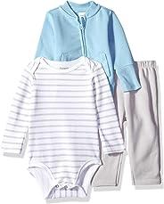 Hanes Ultimate 婴儿拉链裤,配有紧身衣和羊毛夹克