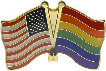 LGBT 和美国国旗交叉或翻领别针 RAM6047