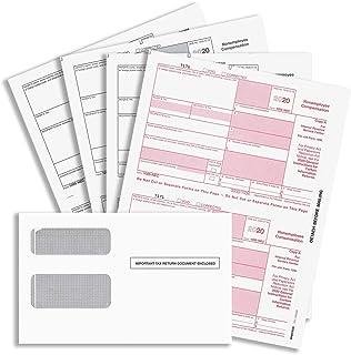 """2020 年""""新""""1099-NEC 表格,4 部分税表,25 个激光表格和25 个自封信封,专为 QuickBooks 和其他会计软件设计的表格"""