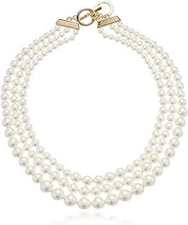 Anne Klein 女士金色金色金色金色珍珠领项链,金色/白色,0