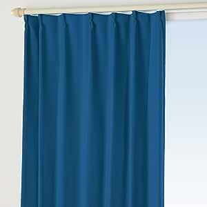 1級遮光 防炎カーテン オーダー感覚17色 Bフック マリンブルー 幅 150cm