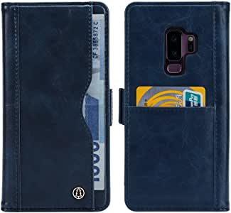 三星 Galaxy note8/S8/S9/Plus 多功能手机套带卡槽现金隔层,PU 皮套,自动吸附,*磁性 Blue Samsung Galaxy S9