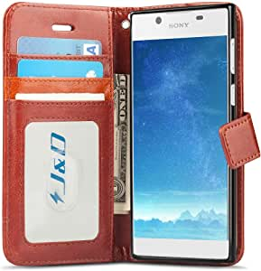 Xperia L1 Case, J&D [Wallet Stand] [Slim Fit] Heavy Duty Protective Shock Resistant Flip Cover Wallet Case for Sony Xperia L1 棕色