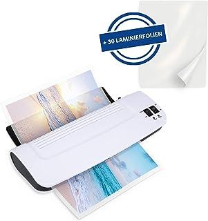 Ultraoffice 塑封机 DIN A4 包括切割尺和边角磨圆器 – 紧凑型塑封机 适用于高达 A4 的热塑封机 适用于学校、家庭和办公室 白色