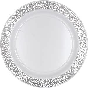 "Party Essentials 24 只装硬塑料 15.87 cm 神圣餐具一次性中国面包和蝴蝶/苹果盘子,白色带银色蕾丝边缘 Silver Lace Rim 7.5"" COMINHKPR123907"