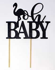 All About Details 火烈鸟主题 Oh 婴儿蛋糕装饰,1 件婴儿淋浴蛋糕装饰,婴儿淋浴照片道具,夏季派对,照片道具 黑色