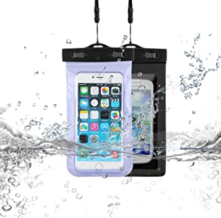 TS LLC 6.5 英寸通用防水手机袋手机干燥袋透明水下保护袋适用于 iPhone 11 Pro Max Note 10 Plus(黄色) Dark grey+Blue