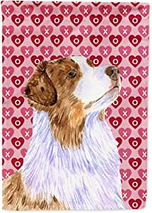 Australian Shepherd Hearts Love Valentine's Day Flag 多色 小号