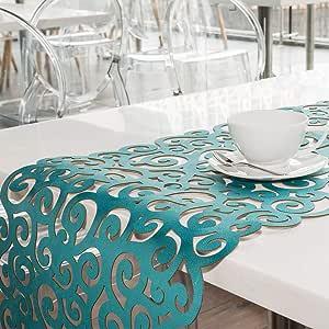 "BLASANI Mijal Gleiser 双面桌巾激光切割耐热防滑防污多款设计 149.24 x 40.64 厘米 157.48 x 40.64 厘米 Ssn-gold-purple 55"" x 16"" Sea Snail run55-1303"