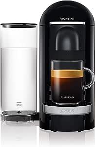 Krups 克鲁伯 Nespresso XN9008 Vertuo Plus 胶囊咖啡机,自动胶囊识别,1.7 升水箱,5种杯子尺寸,黑色 不锈钢