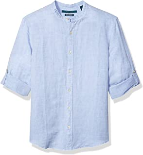 Perry Ellis 男士純色亞麻卷袖條紋領襯衫