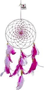 Rooh Dream Catcher ~ 粉红色薰衣草 ~ 手工悬挂 用于正方(用作家庭装饰、壁挂、花园、汽车、户外、卧室、冥想室、瑜伽寺庙、风铃)(粉色)