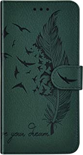 IKASEFU 兼容三星 Galaxy Note 10 外壳 浮雕羽毛 Plumage PU 皮革钱包 皮夹 带卡槽 防震 磁性 支架 对开 翻转 书本保护壳