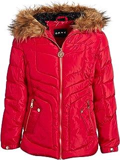 DKNY 女童中等重量泡滑雪夹克,羊羔绒衬里和人造毛皮装饰帽