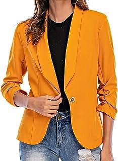 Aladuo 女式七分袖西装外套前开襟开衫夹克工作办公室外套