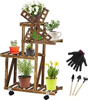 带轮子的高大植物架,木花架,室内室外花盆架,适用于庭院花园角落阳台客厅(风车4层)