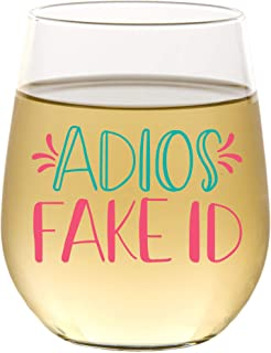 """""""Adios Fake ID""""趣味可爱酒杯,无茎 15 盎司,礼品盒,男女皆宜的21岁生日礼物,送给她、妈妈、妻子、女朋友、姐妹、祖母、阿姨、朋友、朋友的独特礼物"""