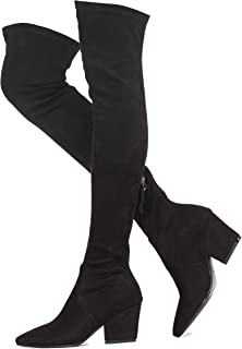 Shoe'N Tale 女式粗跟后背拉链性感尖头过膝高筒靴