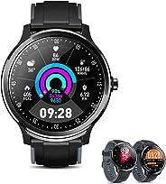 Hissorase 智能手表*健身追踪器,带心率监测器,*监测器,远程音乐/摄像机控制,DIY 表盘,IP68 防水,卡路里计数器活动追踪器,适用于 Android iOS
