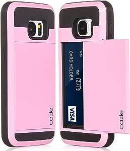 Galaxy S7,双层重型哑光坚固保护盖带滑块 ID 信用卡插槽现金夹,适用于三星 Galaxy S7 by Cazle 出品 粉红色