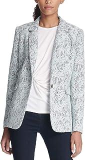 DKNY 女式蕾丝合身单扣西装外套 蓝色 0