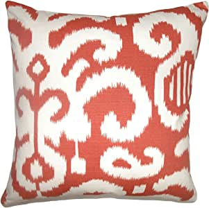 The Pillow Collection Teora Ikat Pillow, Flame