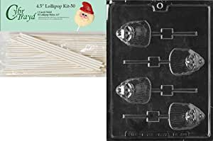 Cybrtrayd 00045St50-C416 Long Bearded Santa Lolly Christmas Chocolate/Candy Mold with 50 4.5-Inch Lollipop Sticks