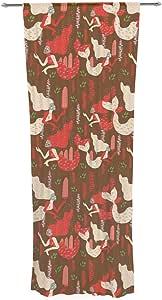 Kess InHouse Akwaflorell 美人鱼棕色红色装饰纯色窗帘套装,76.2cm x 213.36cm