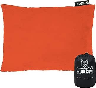 Wise Owl Outfitters 野营枕 可压缩泡沫枕 - 在汽车、飞机旅行、吊床和野营时使用 - 成人和儿童 - 小巧、中和大尺寸 - 便携式袋