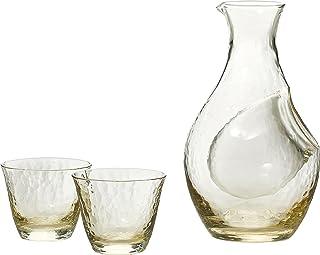 东洋佐佐木玻璃 清酒杯套组 高濑川 琥珀 日本制造 酒壶300ml 酒杯80ml 3件装 G604-M72