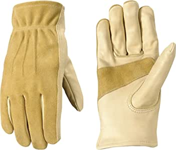 Wells Lamont 工作手套,谷物/方块牛皮,Keystone 拇指,手掌补丁,皮套 大 1124L
