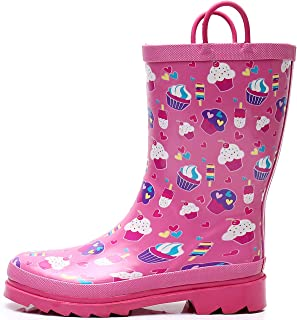 SOLARRAIN 女童橡胶防水雨靴带易穿手柄防滑耐用泥靴可爱印花雨鞋适合幼儿和儿童