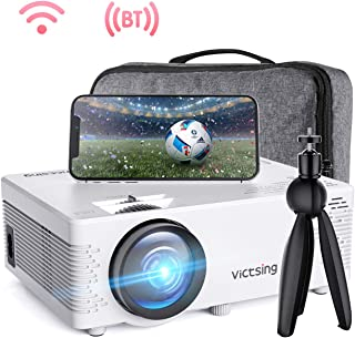 VicTsing WiFi 投影机蓝牙和屏幕镜像,3600 Lux 无线投影机蓝牙,带三脚架,支持1080P,HiFi 声音。 迷你投影仪兼容电视棒,PS4。 (带定制尺寸的袋子)