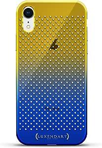 奢华设计师,3D 印花,时尚,高端,高端,Chameleon 变色效果手机壳 iPhone XrLUX-IRCRM2B-POLKA2 SHAPES & PATTERNS: LITTLE WHITE POLKA DOTS 蓝色(Dusk)