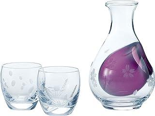 东洋佐佐木玻璃 清酒杯套装 雪月花 日本制 泡泡 酒壶290ml 酒杯100ml 3件装 G604-M51