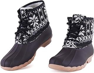 Stillieve 女式防水系带鸭子雨靴一脚蹬户外冬季雪地靴