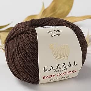 Gazzal 婴儿棉 每件 1.76 盎司(50 克)/150 码(165 米)柔软,细棉纱,60% 棉 Brown - 3436 5 件装 GBabyCotton