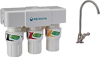 Aquasana 3阶式 水槽下滤水系统 厨房Counter Claryum过滤器 可滤掉99%氯胺,拉丝镍,AQ-5300