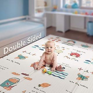折叠婴儿游戏垫 | 不含双酚 A *泡沫游戏垫199.9x 144.8cm 英寸厚超大双面爬行垫子便携式学步儿童儿童防水防滑活动 tummy 游戏室 Little Rainbow