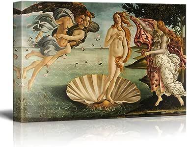 "Botticelli 创作的维纳斯出生艺术微喷油画印刷品包装画廊墙艺术   绷紧和装裱即挂 16"" x 24"" unknown"