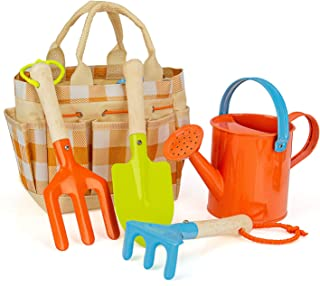 MoTrent 儿童园艺工具套装,5 件套儿童园艺工具玩具包括浇灌罐、铲子、耙子、铲子和花园趾包