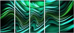 "Designart Emerald Energy Green 抽象金属墙体艺术 - MT3020-48x28-4 片 60x28"" - 5 Equal Panels MT3020-401"