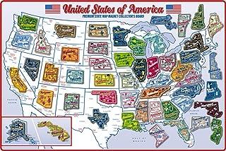 高级州地图磁铁收藏板 - 包含 51 块优质州磁铁