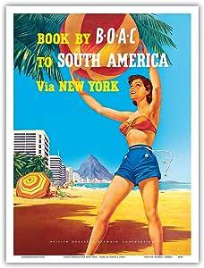 """太平洋岛屿艺术,南美洲经纽约访问 - 巴西里约热内卢 - BOAC(英国海外航空公司) - Hayes 复古航空旅行海报,约 1950 年代 - 艺术版画 9"""" x 12"""" PRTA4930"""