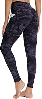 SERHOM 女式瑜伽紧身裤,高腰印花瑜伽裤女式锻炼跑步打底裤,带口袋