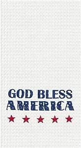 C&F 家用美式华夫格编织毛巾家长 红色,白色,蓝色 Waffle Weave Kitchen Towel 86100661