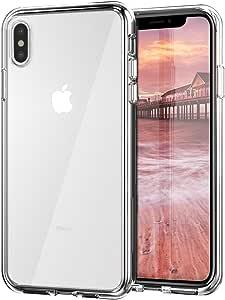 "ZUSLAB iPhone Xs Max 手机壳带硬 PC 透明后盖 + 软硅胶橡胶缓冲垫,防刮防震混合透明保护壳适用于 Apple iPhone Xs Max 6.5""(2018) 透明"